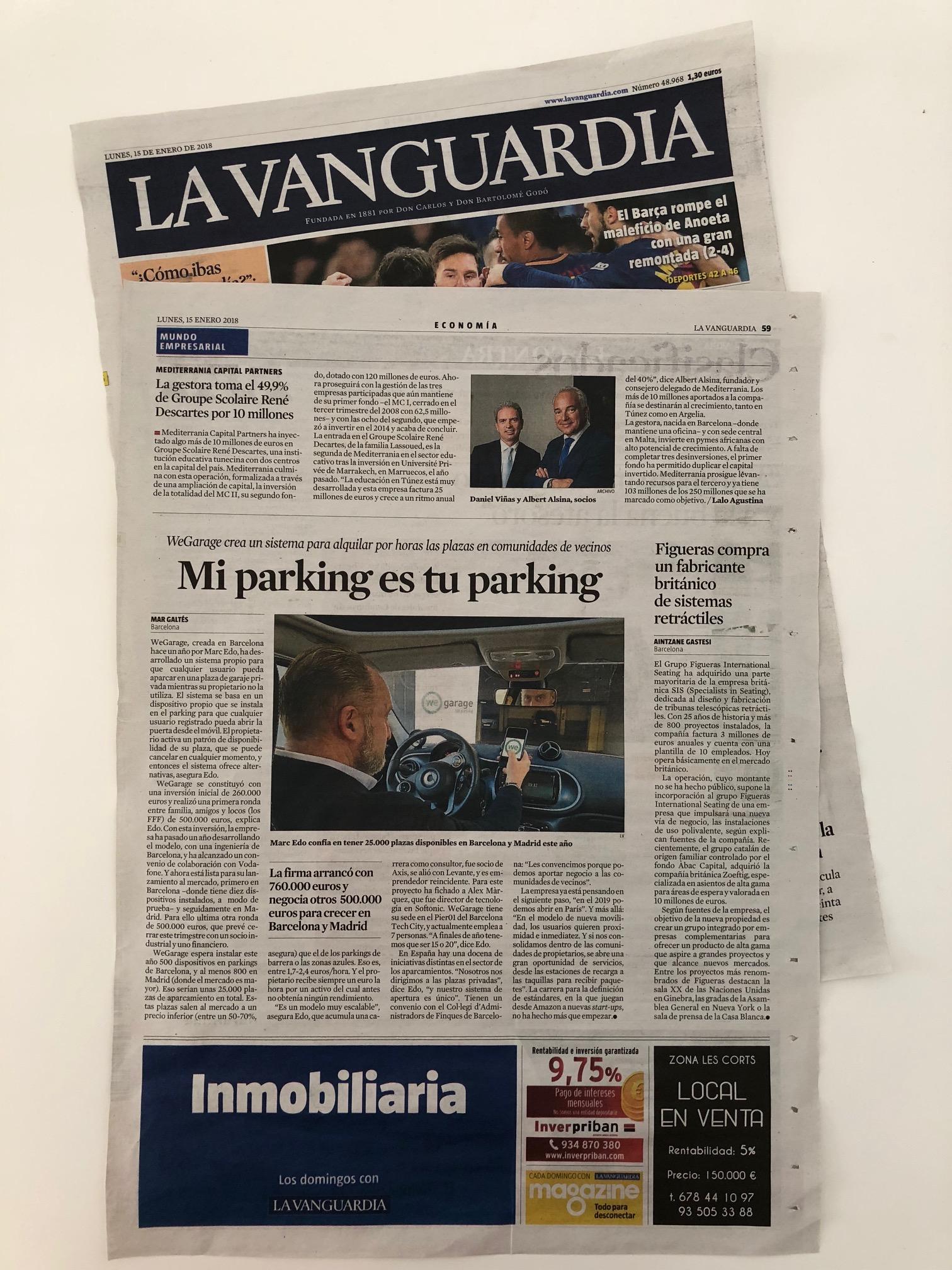 WeGarage en La Vanguardia