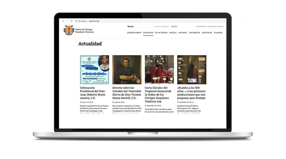 Mockup website Orden de Clérigos Regulares Teatinos