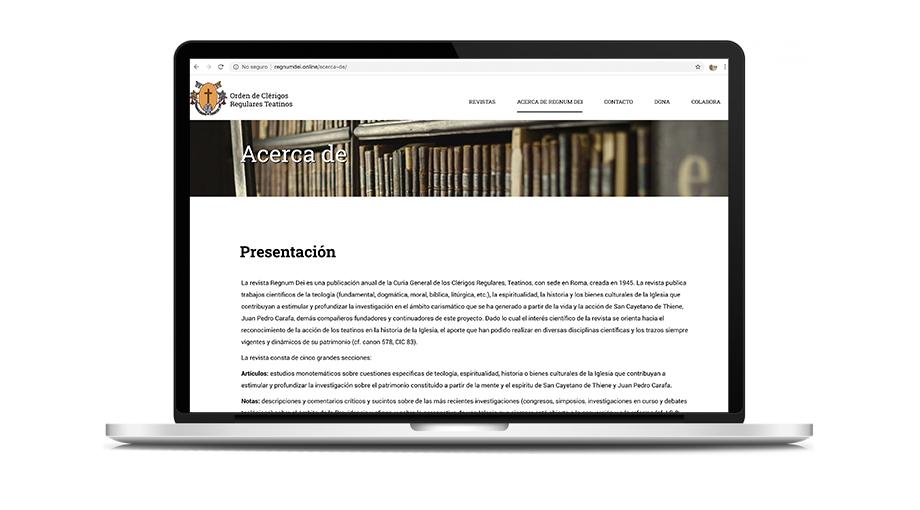 Mockup website Regnum Dei (Teatinos)