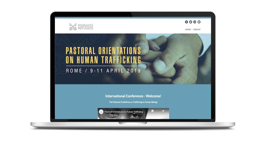 Mockup webiste Pastoral Orientations on Human Trafficking (Migrants & Refugees)
