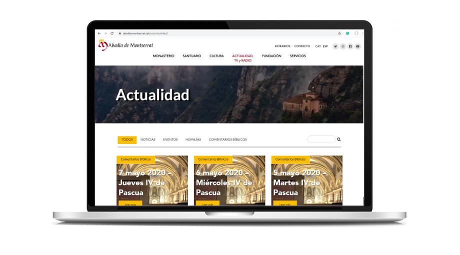 Mockup del diseño web para la Abadía de Montserrat (Barcelona, España)